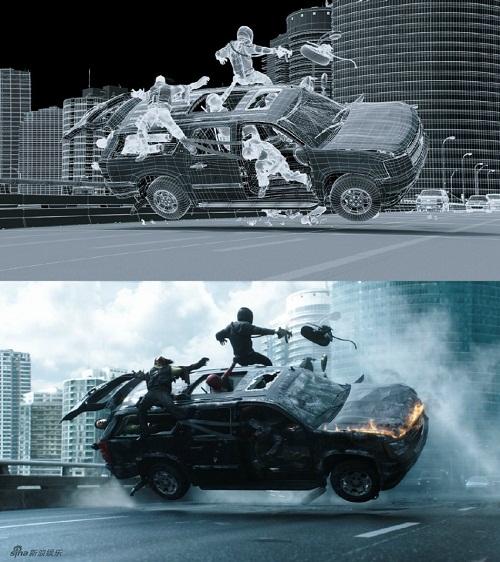 Đến màn rượt đuổi nghẹt thở trên ô tô cũng được tạo ra từ bàn tay các nhà đồ họa.