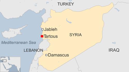 Vị trí thành phố Tartus, Syria. Đồ họa: BBC.