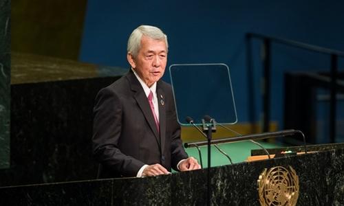 Ngoại trưởng Philippines Perfecto Yasay Jr phát biểu tại Đại hội đồng bảo an Liên Hợp Quốc hôm 24/9. Ảnh: AP.