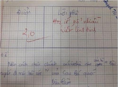 Lời phê bá đạo của giáo viên.