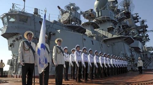 FILE PHOTO. Russias nuclear-powered missile cruiser Pyotr Veliky navy sailors at Syrias Mediterranean port of Tartus. © Grigoriy Sisoev / Sputnik