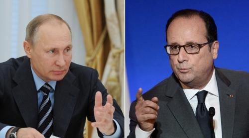 Tổng thống Nga Vladimir Putin và người đồng cấp Pháp Francois Hollande. Ảnh: RT