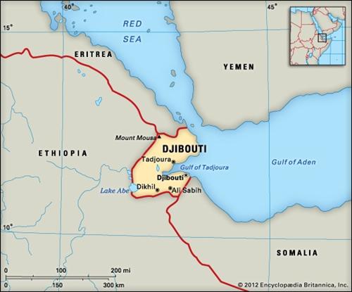 Vị trí Djibouti. Đồ họa: Britannica.