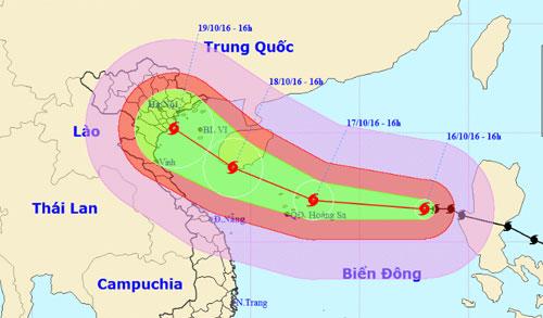 Dự báo đường đi của bão lúc 14h của Trung tâm dự báo khí tượng và thủy văn Trung ương. Ảnh: NCHMF.