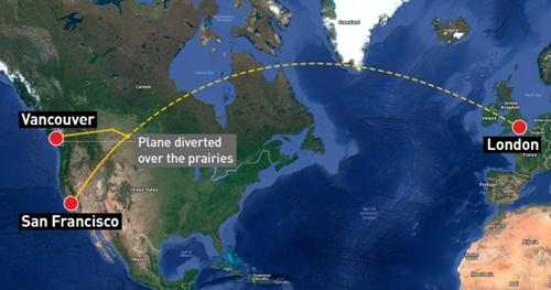 Đường bay của phi cơ British Airways. Đồ họa: CBC News.