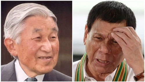 Japans Emperor Akihito and Philippine President Rodrigo Duterte. Duterte will an audience with the emperor during his Japan trip, which follows his headline-grabbing state visit to China last week.