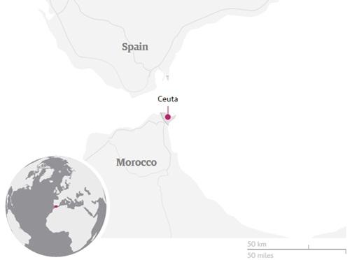 Vị trí Ceuta, thành phố tự trị của Tây Ban Nha. Đồ họa: Guardian