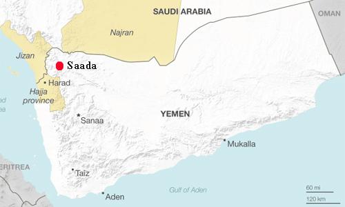 Qủa tên lửa được cho là phóng đi từ tỉnh biên giới Sanaa của Yemen. Đồ họa: