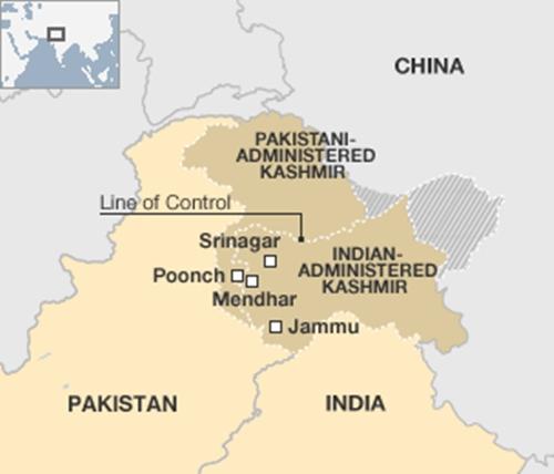 Vị trí vùng Kashmir, nơi Ấn Độ và Pakistan tuyên bố chủ quyền toàn bộ. Đồ họa: BBC.