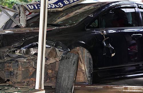 Ô tô hư hỏng sau khi tông liên hoàn. Ảnh: Nguyệt Triều