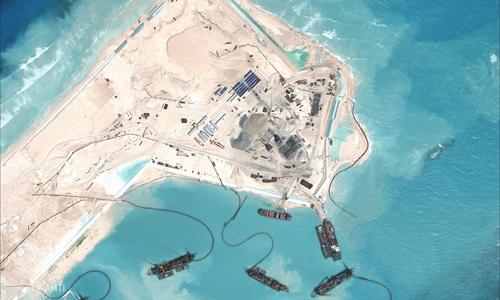 Trung Quốc bồi lấp phi pháp bãi đá thuộc chủ quyền Việt Nam ở quần đảo Trường Sa. Ảnh: CSIS