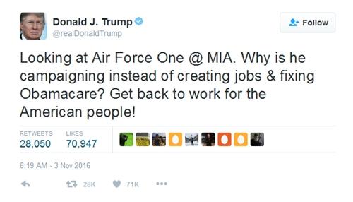 Ông Trump chỉ trích Tồng thống Obama trên Twitter.