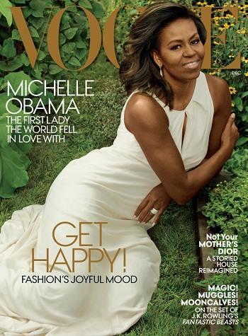 Bà MichelleObama trên trang bìa Vogue (Ảnh: Vogue)