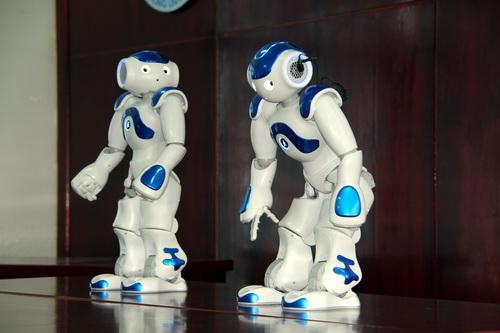 2 chú robot nhảy theo nhạc. Ảnh: Phước Tuấn