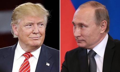 Tổng thống đắc cử Trump và Tổng thống Putin. Ảnh: Guardian.