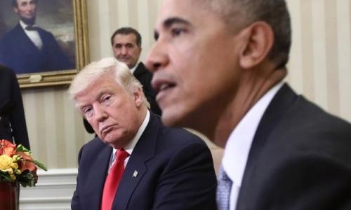 Trump và Obama trong cuộc gặp tại Nhà Trắng hôm 10/11. Ảnh: Reuters.