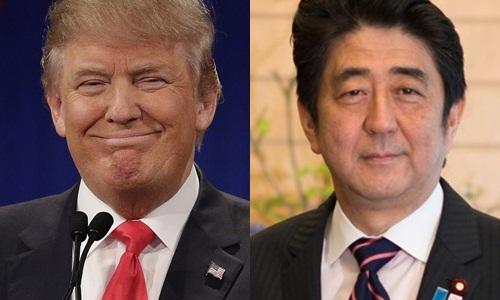 Tổng thống Mỹ đắc cử Donald Trump (trái) và Thủ tướng Nhật Shinzo Abe. Ảnh: Politico, Wikimedia