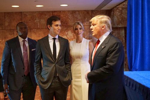 Jared Kushner, second from left, the son-in-law of Donald J. Trump, with his wife, Ivanka Trump, the day that Mr. Trump announced his presidential campaign last year at Trump Tower.