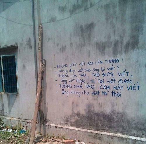 Không được viết bậy trên tường.