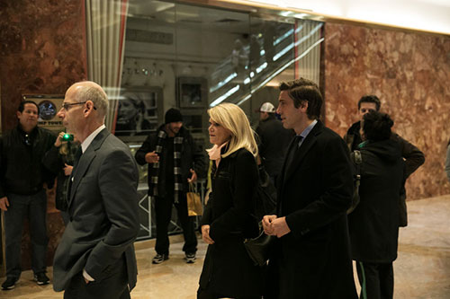 At center, Martha Raddatz and David Muir of ABC arriving for a meeting at Trump Tower with Donald J. Trump on Monday.CreditTodd Heisler/The New York Times