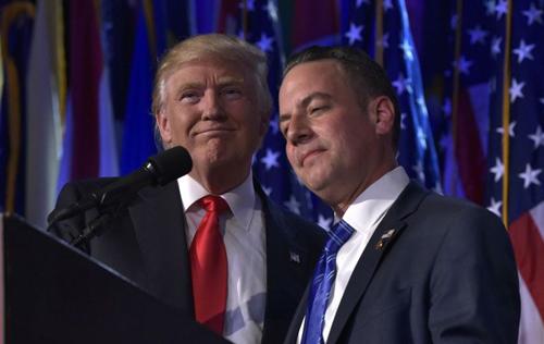 Tổng thống đắc cử Donald Trump và cố vấnReince Priebus, chủ tịch Ủy ban Quốc gia đảng Cộng hòa,
