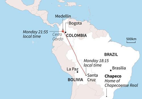 Đường bay từ Santa Cruz tới Medellin của chiếc máy bay xấu số. Đồ họa: AFP