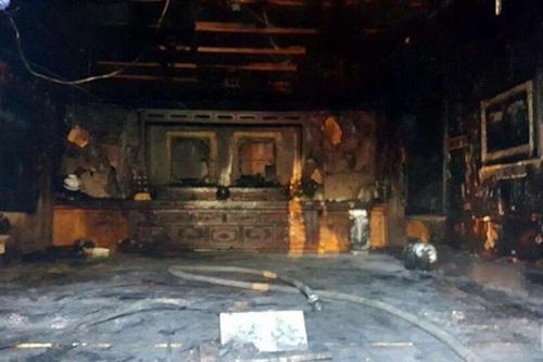 Nhà tưởng niệm sau vụ hỏa hoạn. Ảnh: Yonhap