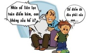 Con trai ăn đòn vì bố học dốt
