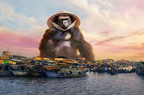 Buôn bán bên bờ sông Mê Kông.