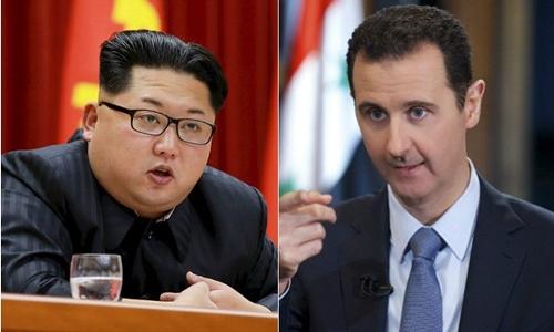 Lãnh đạo Triều Tiên Kim Jong-un và Tổng thống Syria Bashar al-Assad. Ảnh: Breibart