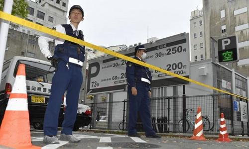 Cảnh sát thành phố Fukuoka phong tỏa hiện trường vụ cướp. Ảnh: Kyodo
