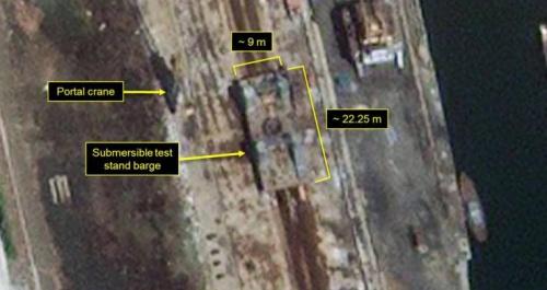 Hình ảnh sà lan nhìn từ vệ tinh. Ảnh: 38North