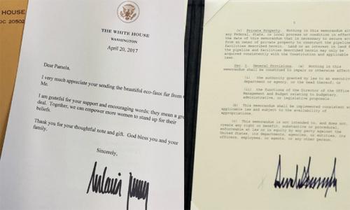 Chữ ký của Melania Trump (trái) và chữ ký của Tổn thống Donald Trump. Ảnh: Twitter.