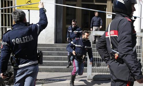 Cảnh sát thành phố Milan. Ảnh: AP.