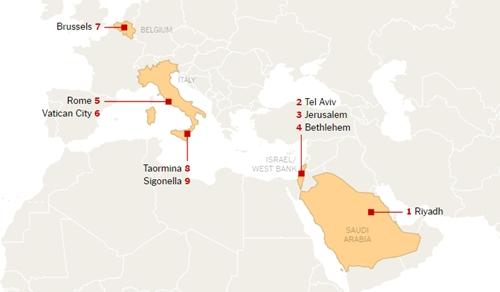 Các địa điểm ông Trump sẽ tới thăm. Đồ họa: NewYorkTimes