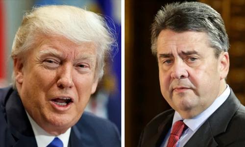 Tổng thống Mỹ Donald Trump (trái) và Ngoại trưởng Đức Sigmar Gabriel. Ảnh: Telegraph.