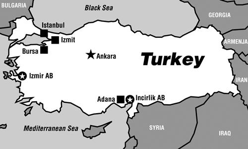 Vị trí căn cứ Incirlik, Thổ Nhĩ Kỳ. Đồ họa: af.mil.