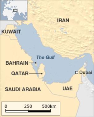 Vị trí địa lý của Qatar ở vùng Vịnh. Đồ họa: BBC