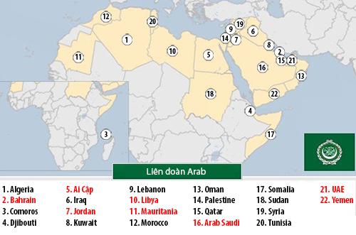 8 quốc gia trong Liên đoàn Arab đã cắt hoặc giảm cấp quan hệ ngoại giao với Qatar. Đồ họa: BBC.