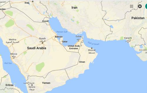 Bản đồ các nước tại Trung Đông. Đồ hoạ: Googlemaps