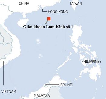 Mỏ khai thác băng cháy của Trung Quốc nằm ở phía bắc Biển Đông, cách Hong Kong 300 km. Đồ họa: ST