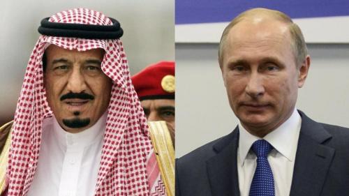 Quốc vương Salman và Tổng thống Vladimir Putin. Ảnh: A