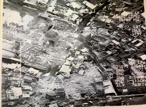 Đền thờ Grand al-Nuri ở Mosul bị phá hủy. Ảnh: Reuters.