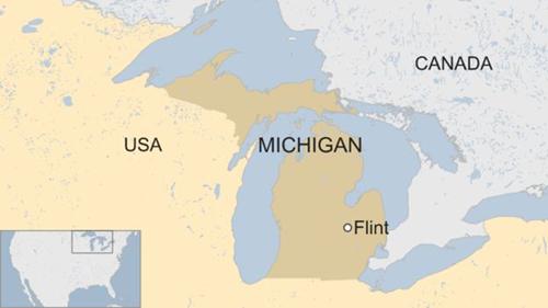 Vị trí thành phố Flint, bang Michigan. Đồ họa: BBC