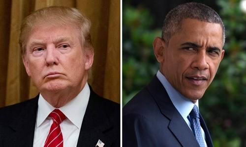 Tổng thống Mỹ Donald Trump và người tiền nhiệm Barack Obama. Ảnh: NBC News.