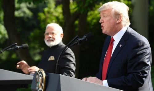 Thủ tướng Ấn Độ và Tổng thống Mỹ tại Nhà Trắng. Ảnh: AFP.