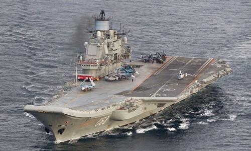 Tàu sân bay Nga Đô đốc Kuznetsov. Ảnh: Reutrs.