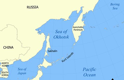 Vị trí vùng biển Okhotsk và