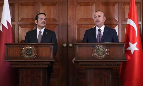 Ngoại trưởng Qatar và Thổ Nhĩ Kỳ họp báo chung ở Ankara ngày 14/7. Ảnh: Press TV.