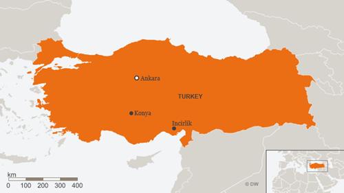 Vị trí căn cứ Konya và Incirlik, Thổ Nhĩ Kỳ. Đồ họa: DW.